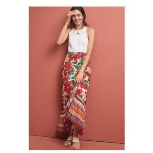 ANTHROPOLOGIE farm rio wrapped floral skirt!